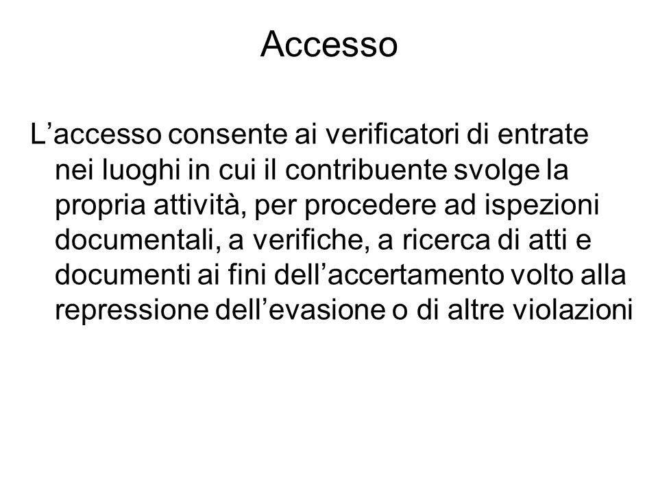 Accesso Laccesso consente ai verificatori di entrate nei luoghi in cui il contribuente svolge la propria attività, per procedere ad ispezioni document