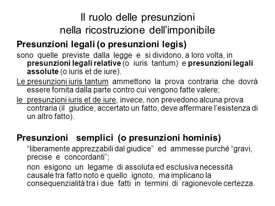Il ruolo delle presunzioni nella ricostruzione dellimponibile Presunzioni legali (o presunzioni legis) sono quelle previste dalla legge e si dividono,