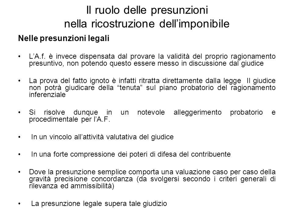 Il ruolo delle presunzioni nella ricostruzione dellimponibile Nelle presunzioni legali LA.f. è invece dispensata dal provare la validità del proprio r