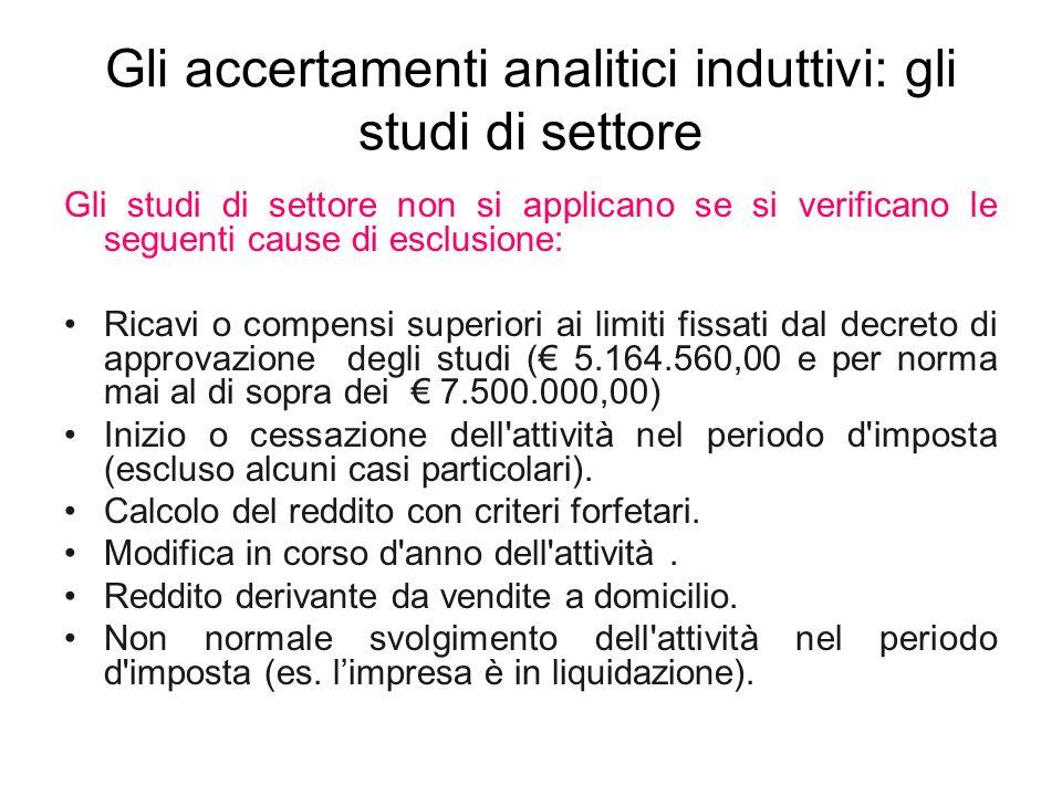 Gli accertamenti analitici induttivi: gli studi di settore Gli studi di settore non si applicano se si verificano le seguenti cause di esclusione: Ric