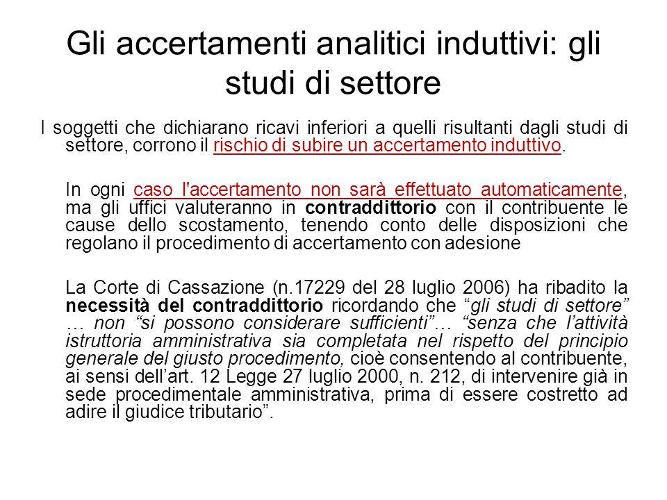 Gli accertamenti analitici induttivi: gli studi di settore I soggetti che dichiarano ricavi inferiori a quelli risultanti dagli studi di settore, corr