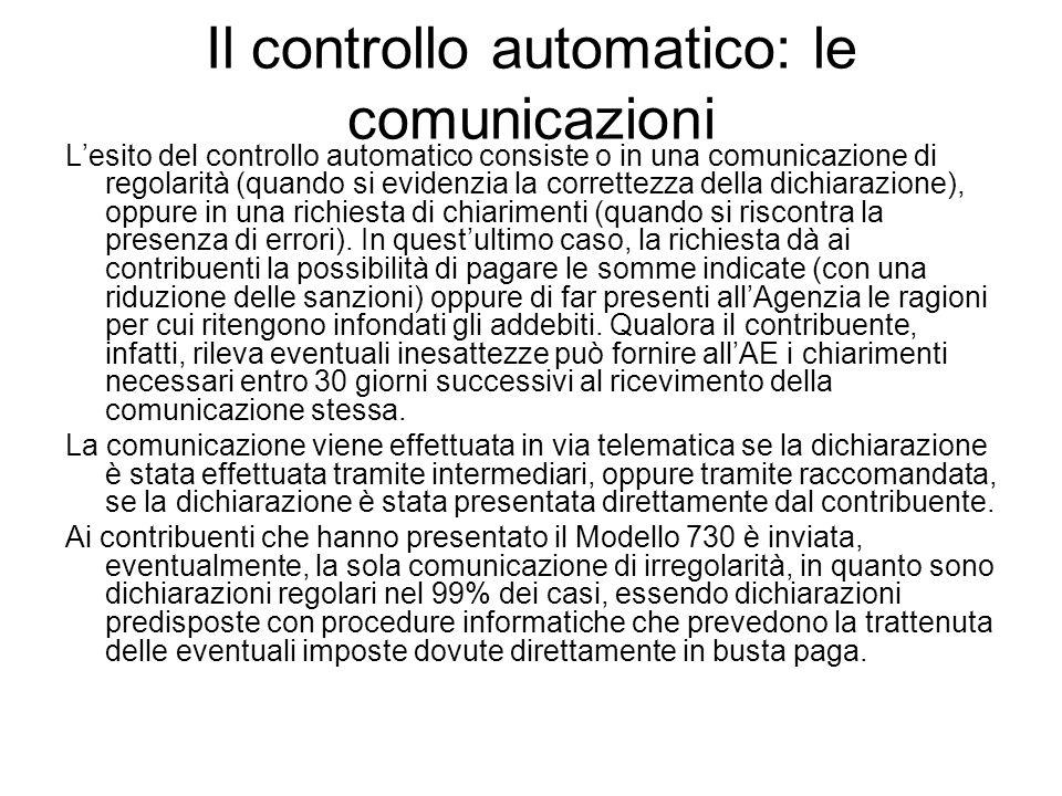 Il controllo automatico: le comunicazioni Lesito del controllo automatico consiste o in una comunicazione di regolarità (quando si evidenzia la corret