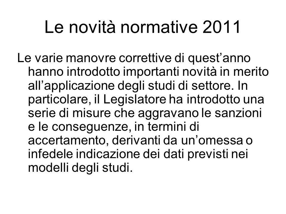 Le novità normative 2011 Le varie manovre correttive di questanno hanno introdotto importanti novità in merito allapplicazione degli studi di settore.