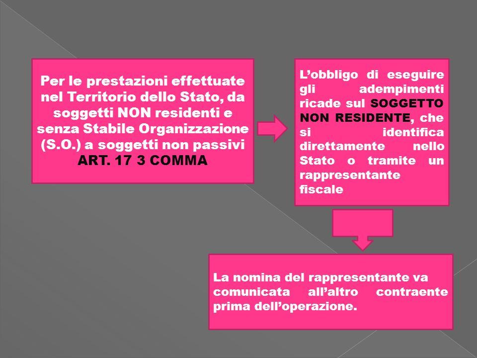 Per le prestazioni effettuate nel Territorio dello Stato, da soggetti NON residenti e senza Stabile Organizzazione (S.O.) a soggetti non passivi ART.