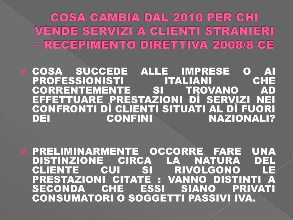 COSA SUCCEDE ALLE IMPRESE O AI PROFESSIONISTI ITALIANI CHE CORRENTEMENTE SI TROVANO AD EFFETTUARE PRESTAZIONI DÌ SERVIZI NEI CONFRONTI DÌ CLIENTI SITUATI AL DÌ FUORI DEI CONFINI NAZIONALI.