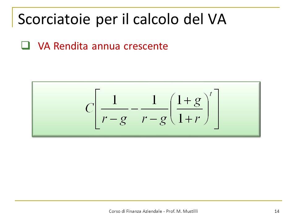 Scorciatoie per il calcolo del VA 14Corso di Finanza Aziendale - Prof. M. Mustilli VA Rendita annua crescente