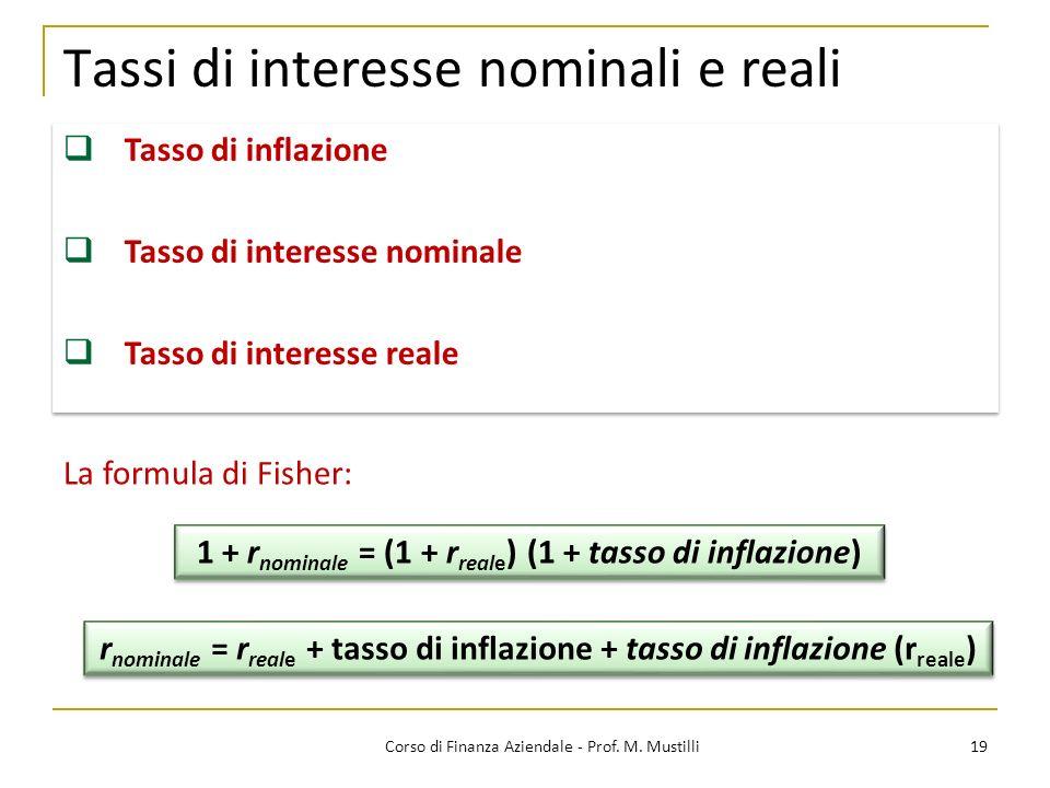 19Corso di Finanza Aziendale - Prof. M. Mustilli Tassi di interesse nominali e reali Tasso di inflazione Tasso di interesse nominale Tasso di interess