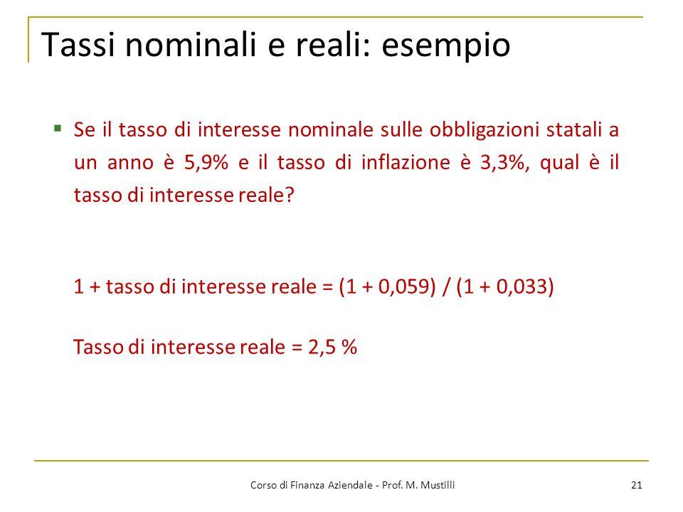 21Corso di Finanza Aziendale - Prof. M. Mustilli Tassi nominali e reali: esempio Se il tasso di interesse nominale sulle obbligazioni statali a un ann