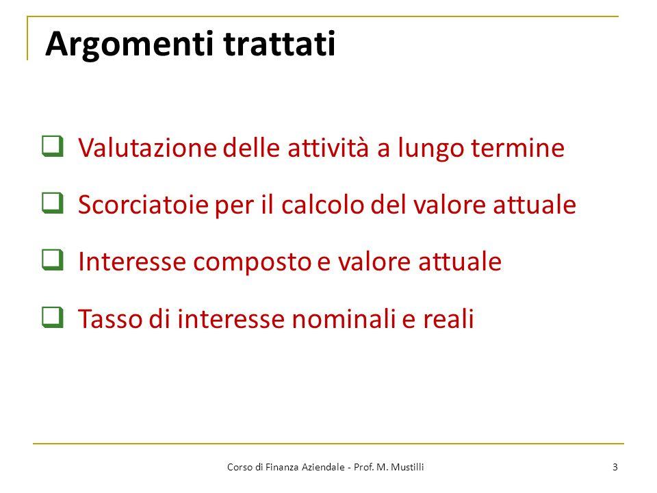 Argomenti trattati 3 Valutazione delle attività a lungo termine Scorciatoie per il calcolo del valore attuale Interesse composto e valore attuale Tass