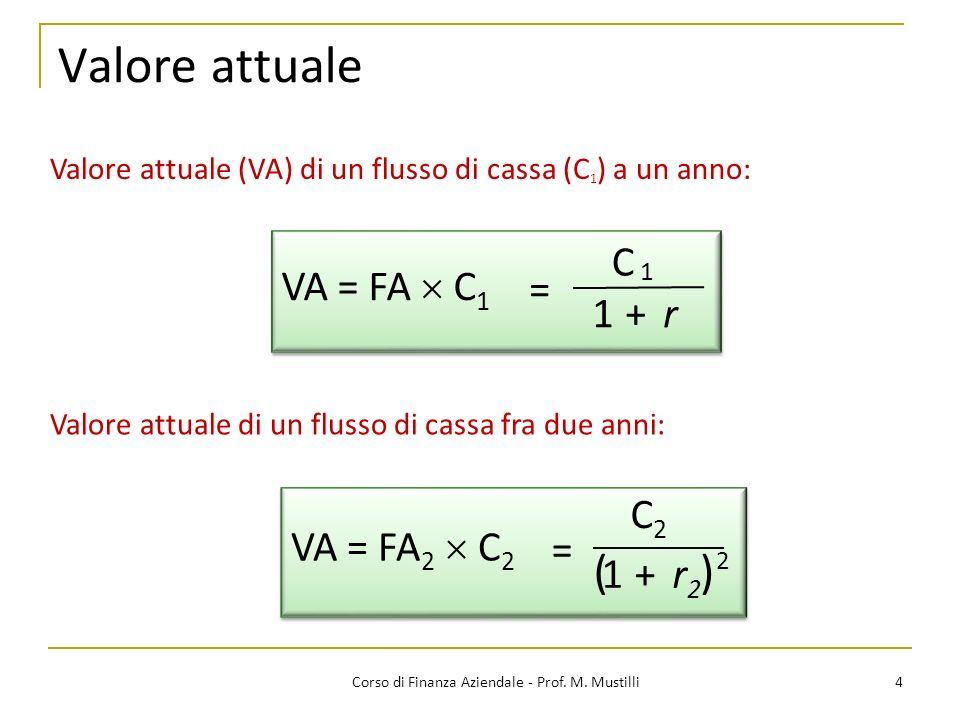 Valore attuale 4Corso di Finanza Aziendale - Prof. M. Mustilli Valore attuale di un flusso di cassa fra due anni: Valore attuale (VA) di un flusso di