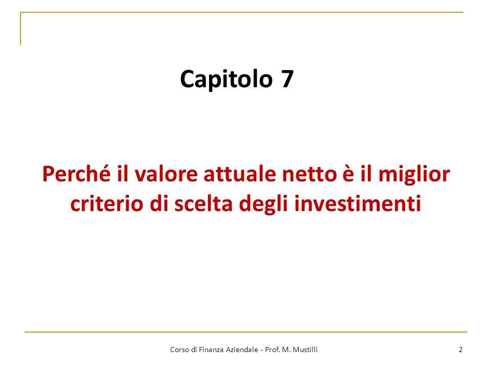 Capitolo 7 Perché il valore attuale netto è il miglior criterio di scelta degli investimenti 2 Corso di Finanza Aziendale - Prof. M. Mustilli