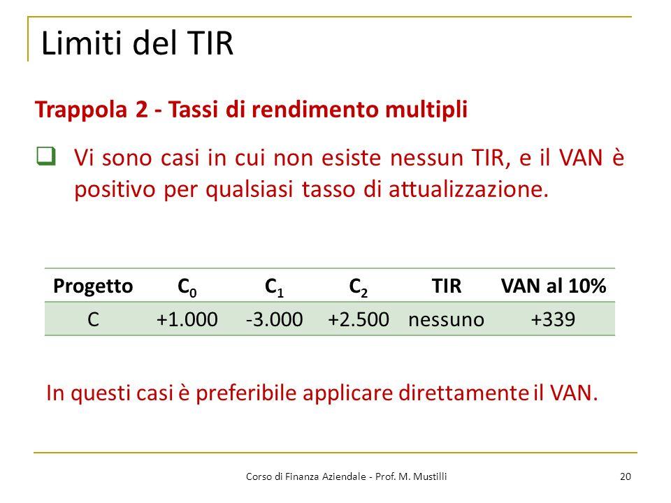 20Corso di Finanza Aziendale - Prof. M. Mustilli Limiti del TIR Trappola 2 - Tassi di rendimento multipli Vi sono casi in cui non esiste nessun TIR, e
