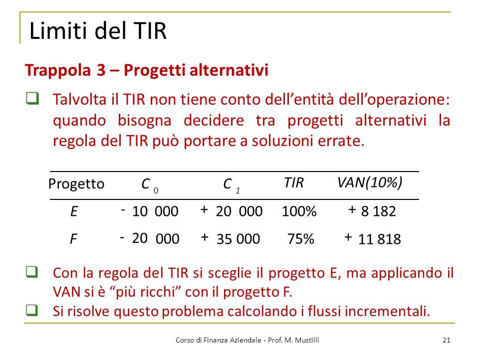 21Corso di Finanza Aziendale - Prof. M. Mustilli Limiti del TIR Trappola 3 – Progetti alternativi Talvolta il TIR non tiene conto dellentità dellopera
