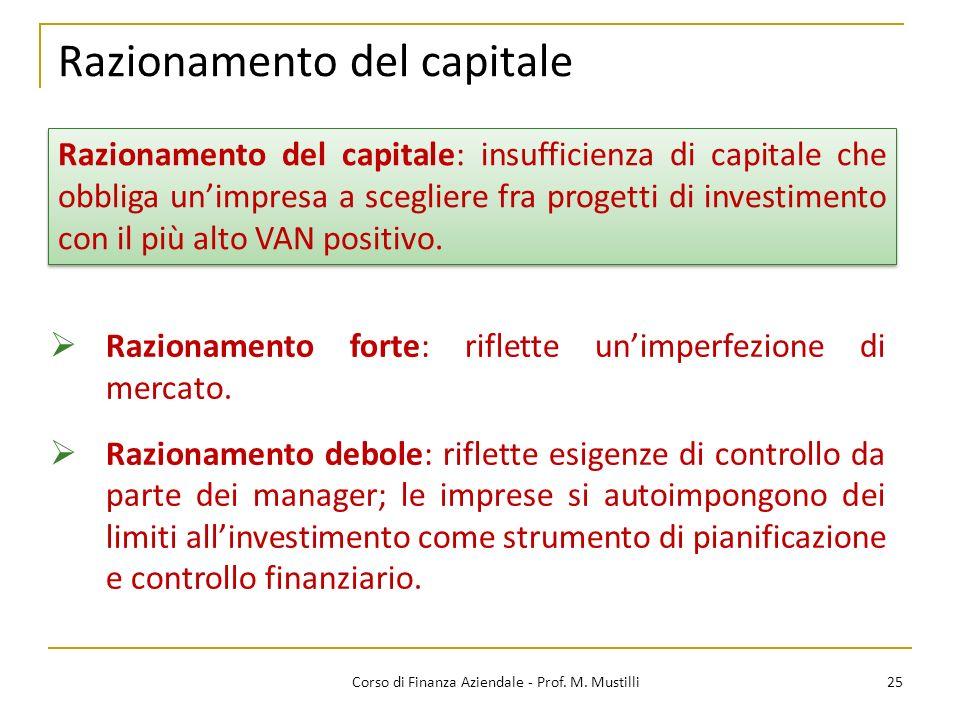 Razionamento del capitale 25Corso di Finanza Aziendale - Prof. M. Mustilli Razionamento forte: riflette unimperfezione di mercato. Razionamento debole