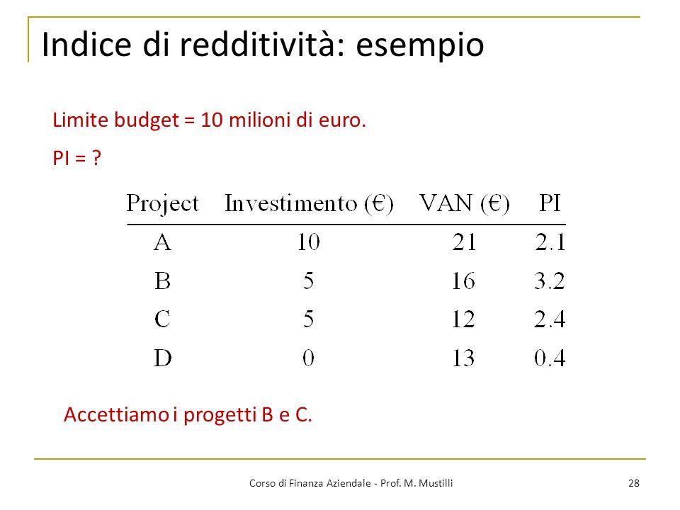 28Corso di Finanza Aziendale - Prof. M. Mustilli Indice di redditività: esempio Limite budget = 10 milioni di euro. PI = ? Accettiamo i progetti B e C
