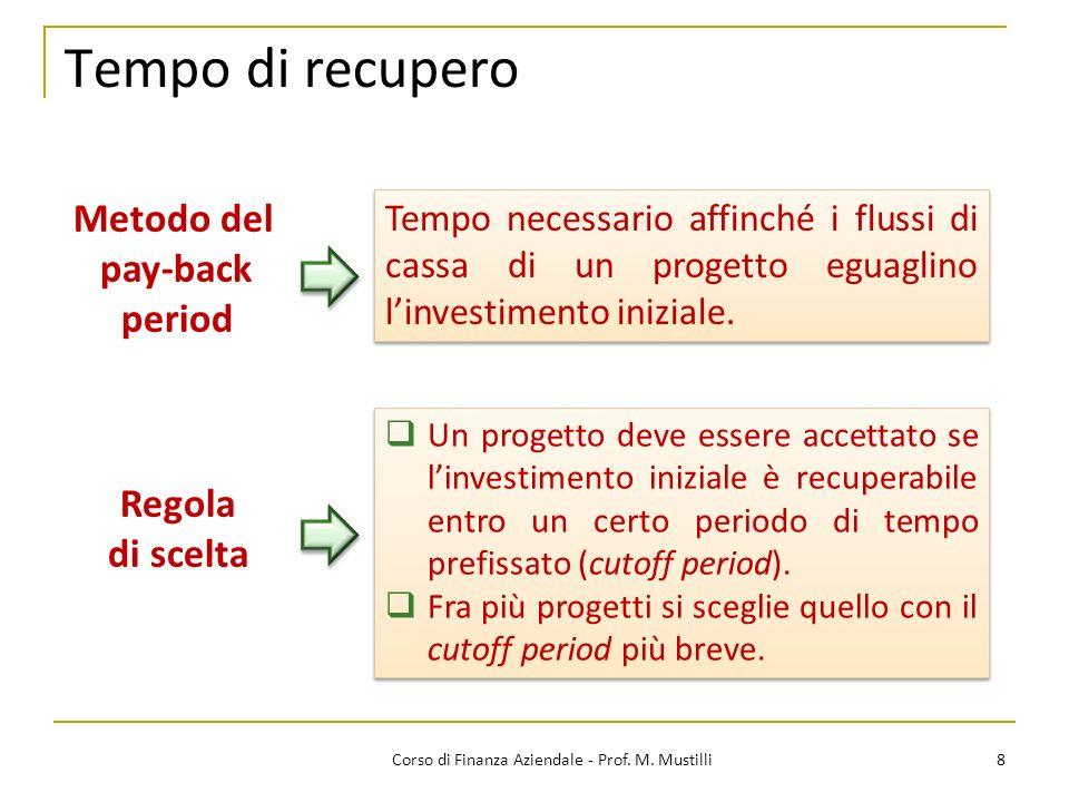 Tempo di recupero 8Corso di Finanza Aziendale - Prof. M. Mustilli Metodo del pay-back period Tempo necessario affinché i flussi di cassa di un progett