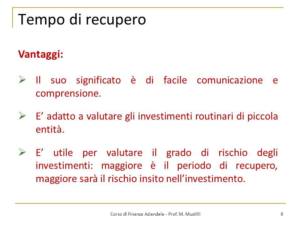 Tempo di recupero 9Corso di Finanza Aziendale - Prof. M. Mustilli Vantaggi: Il suo significato è di facile comunicazione e comprensione. E adatto a va