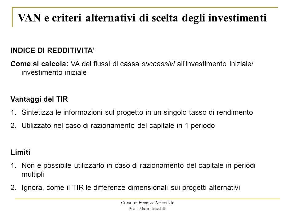 Corso di Finanza Aziendale Prof. Mario Mustilli VAN e criteri alternativi di scelta degli investimenti INDICE DI REDDITIVITA Come si calcola: VA dei f