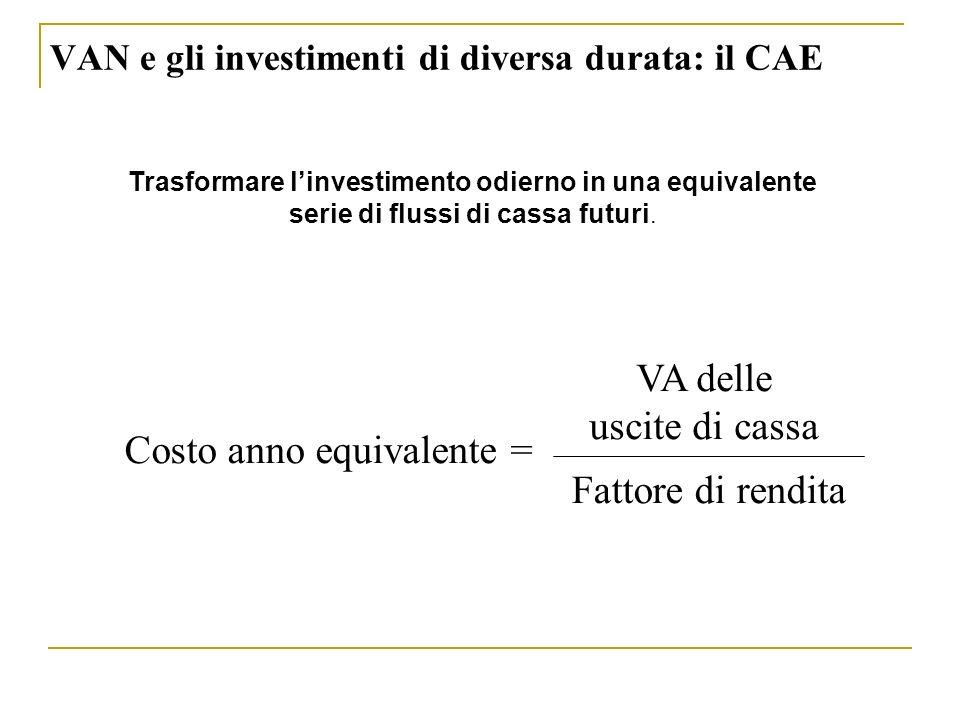 Fattore di rendita VA delle uscite di cassa Costo anno equivalente = Trasformare linvestimento odierno in una equivalente serie di flussi di cassa fut