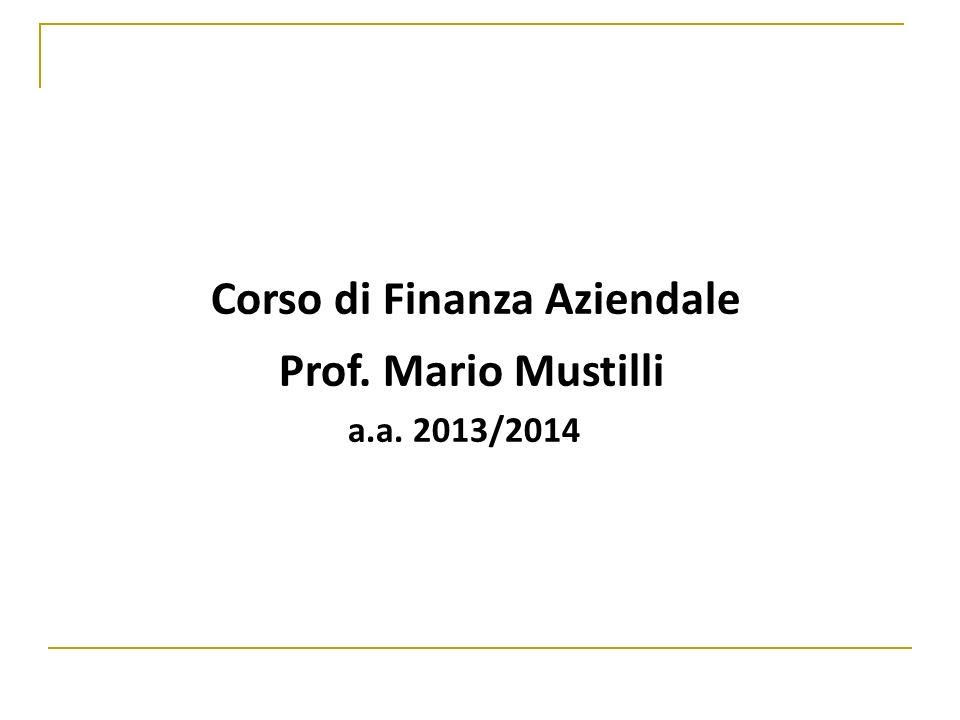 Indici di bilancio 12Corso di Finanza Aziendale - Prof.