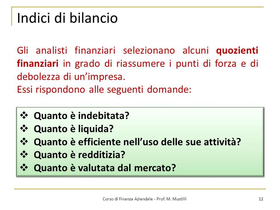 Indici di bilancio 12Corso di Finanza Aziendale - Prof. M. Mustilli Gli analisti finanziari selezionano alcuni quozienti finanziari in grado di riassu