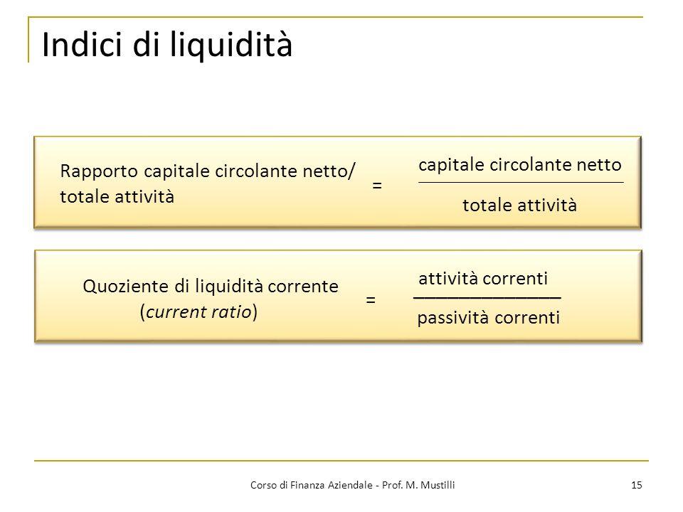 15Corso di Finanza Aziendale - Prof. M. Mustilli Indici di liquidità Rapporto capitale circolante netto/ totale attività = totale attività Quoziente d