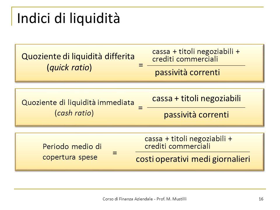 16Corso di Finanza Aziendale - Prof. M. Mustilli Quoziente di liquidità differita (quick ratio) cassa + titoli negoziabili + crediti commerciali passi