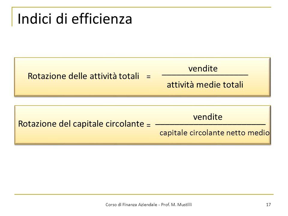 17Corso di Finanza Aziendale - Prof. M. Mustilli Indici di efficienza Rotazione delle attività totali = attività medie totali Rotazione del capitale c