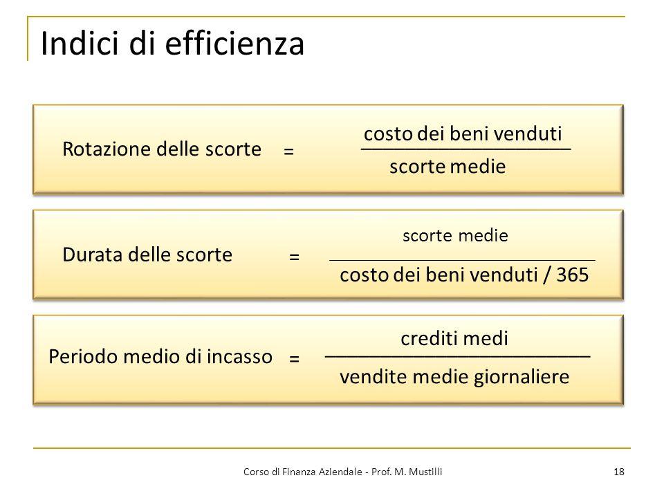 18Corso di Finanza Aziendale - Prof. M. Mustilli Indici di efficienza Rotazione delle scorte ___________________ scorte medie = Durata delle scorte sc