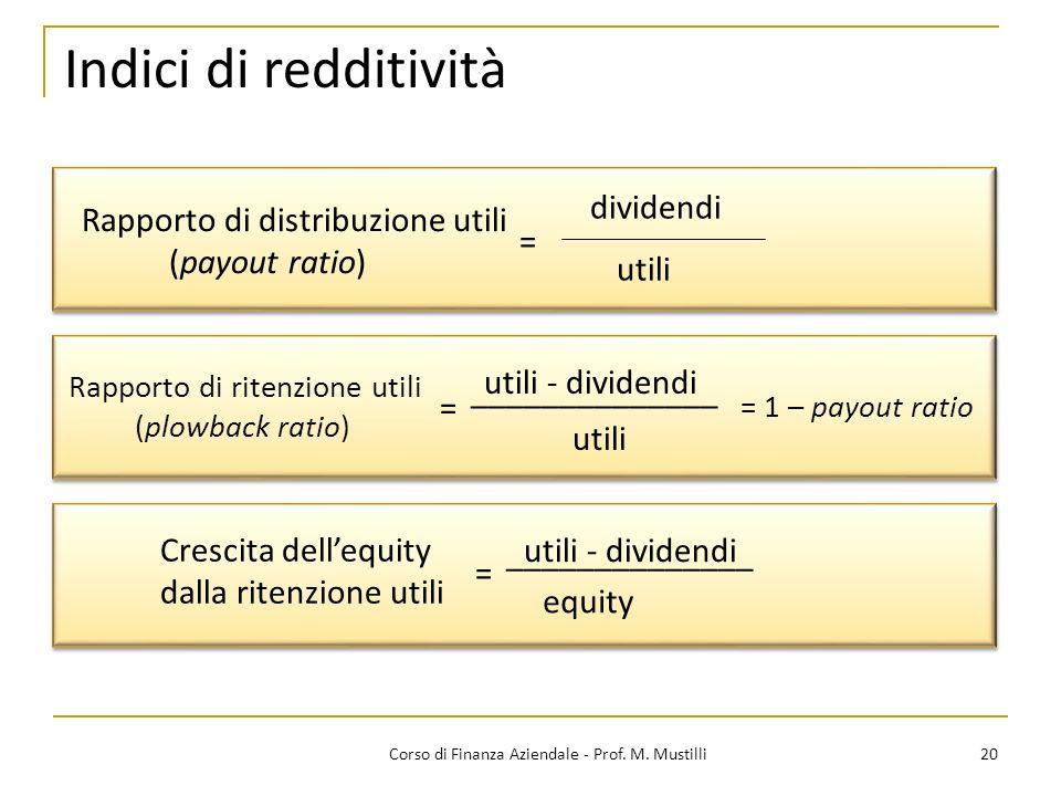 20Corso di Finanza Aziendale - Prof. M. Mustilli Indici di redditività Rapporto di distribuzione utili (payout ratio) dividendi utili = ______________