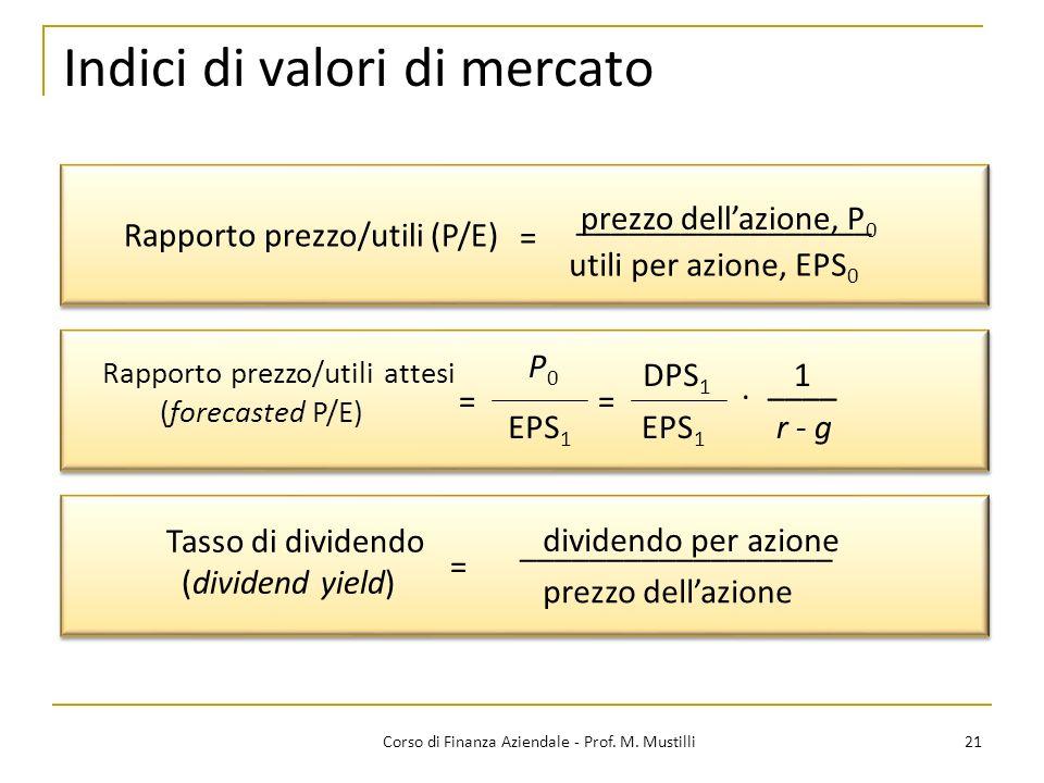 21Corso di Finanza Aziendale - Prof. M. Mustilli Indici di valori di mercato Rapporto prezzo/utili (P/E) _________________ utili per azione, EPS 0 = _