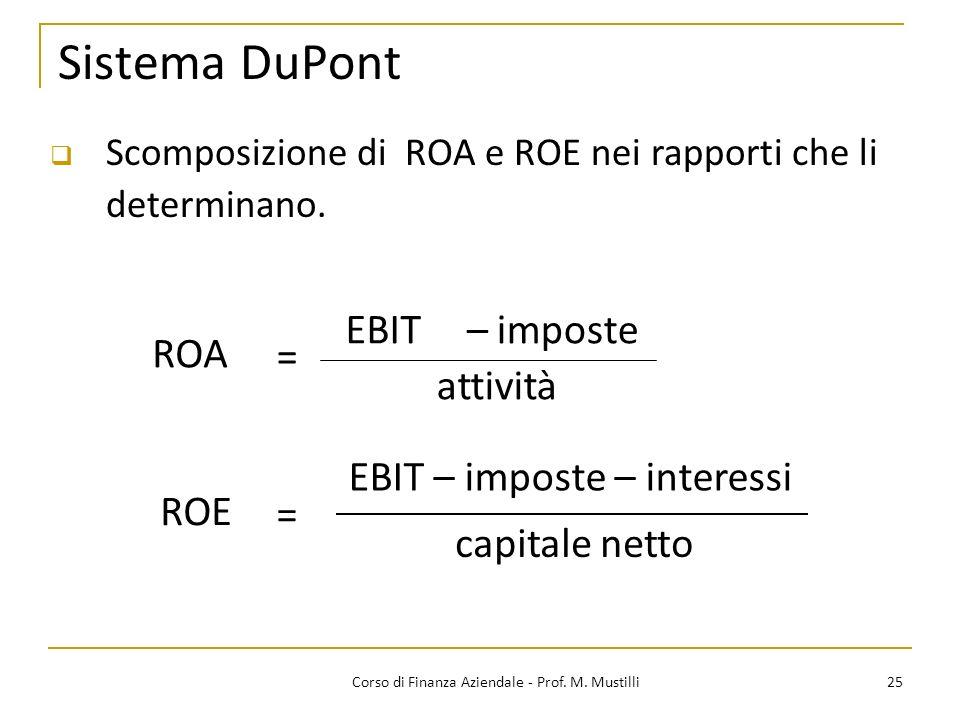 25Corso di Finanza Aziendale - Prof. M. Mustilli Sistema DuPont Scomposizione di ROA e ROE nei rapporti che li determinano. capitale netto = ROE attiv
