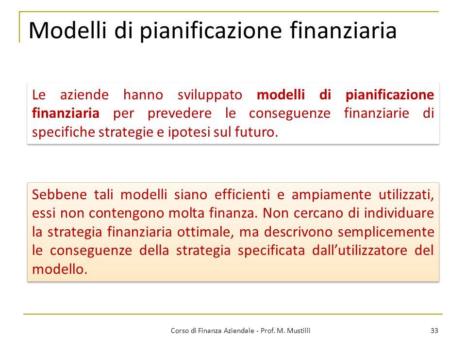 33Corso di Finanza Aziendale - Prof. M. Mustilli Modelli di pianificazione finanziaria Le aziende hanno sviluppato modelli di pianificazione finanziar