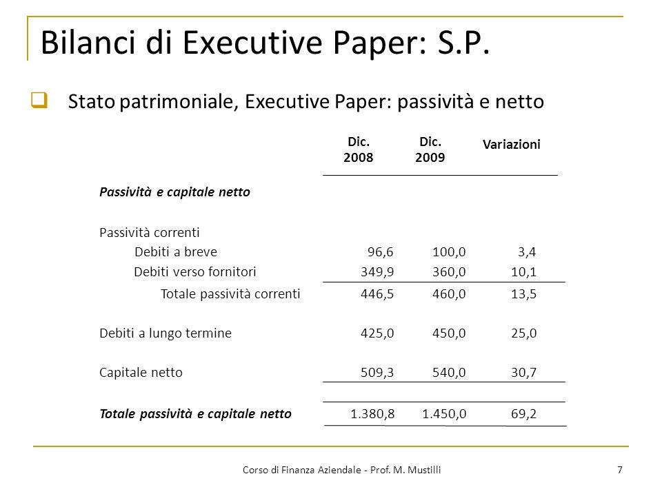 7Corso di Finanza Aziendale - Prof. M. Mustilli Bilanci di Executive Paper: S.P. Stato patrimoniale, Executive Paper: passività e netto Dic. Passività