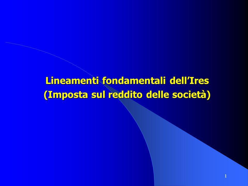 1 Lineamenti fondamentali dellIres (Imposta sul reddito delle società)