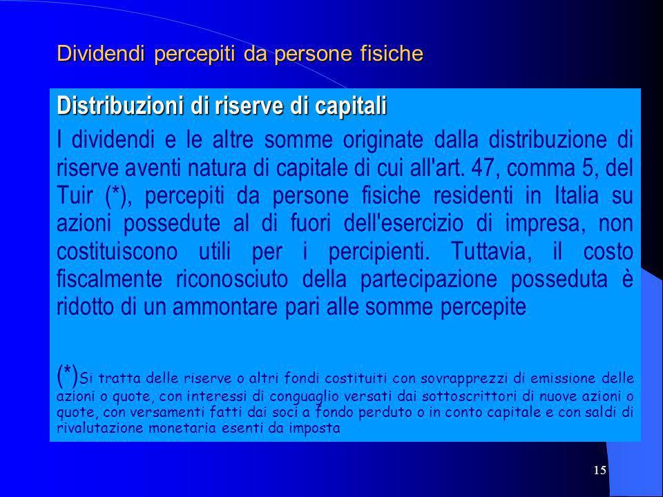 15 Dividendi percepiti da persone fisiche Distribuzioni di riserve di capitali I dividendi e le altre somme originate dalla distribuzione di riserve a