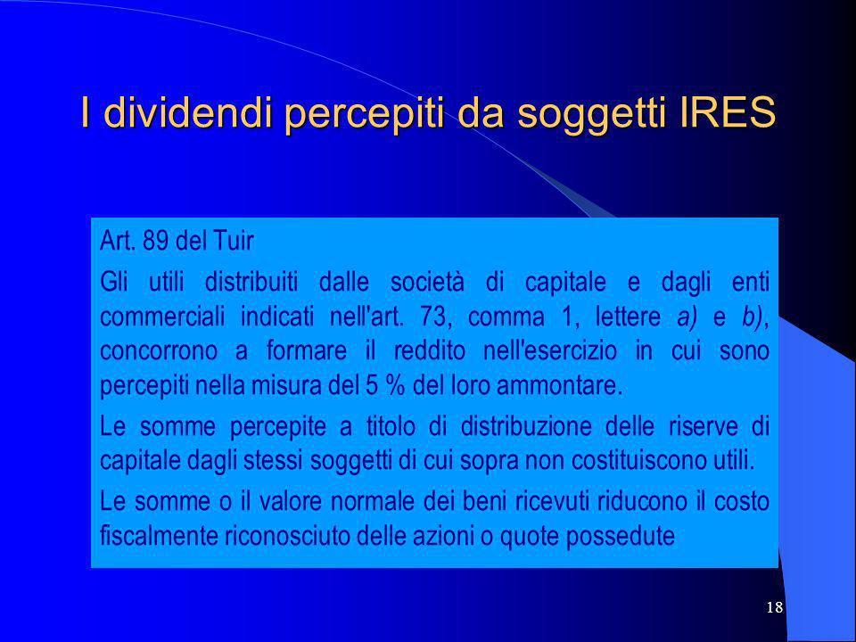 18 I dividendi percepiti da soggetti IRES Art. 89 del Tuir Gli utili distribuiti dalle società di capitale e dagli enti commerciali indicati nell'art.