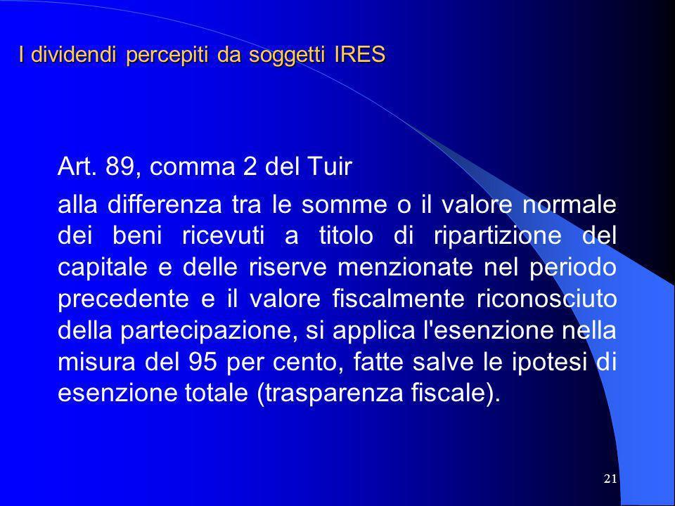 21 Art. 89, comma 2 del Tuir alla differenza tra le somme o il valore normale dei beni ricevuti a titolo di ripartizione del capitale e delle riserve