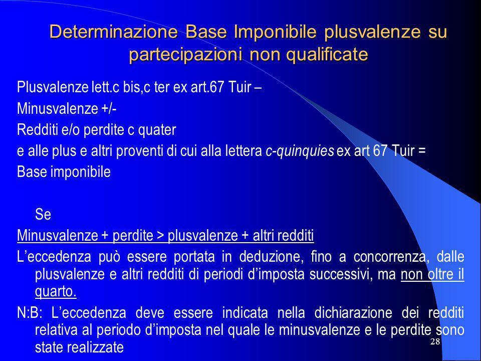 28 Determinazione Base Imponibile plusvalenze su partecipazioni non qualificate Plusvalenze lett.c bis,c ter ex art.67 Tuir – Minusvalenze +/- Redditi