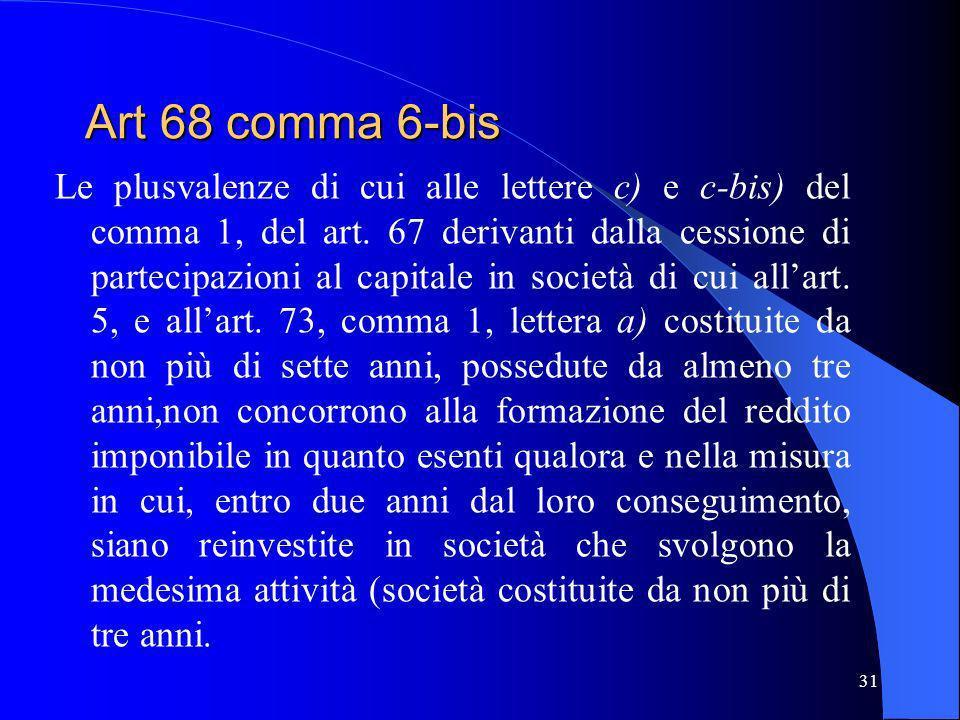 Art 68 comma 6-bis Le plusvalenze di cui alle lettere c) e c-bis) del comma 1, del art. 67 derivanti dalla cessione di partecipazioni al capitale in s