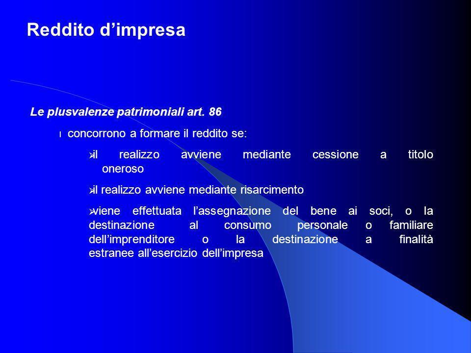 Reddito dimpresa Le plusvalenze patrimoniali art. 86 l concorrono a formare il reddito se: il realizzo avviene mediante cessione a titolo oneroso il r