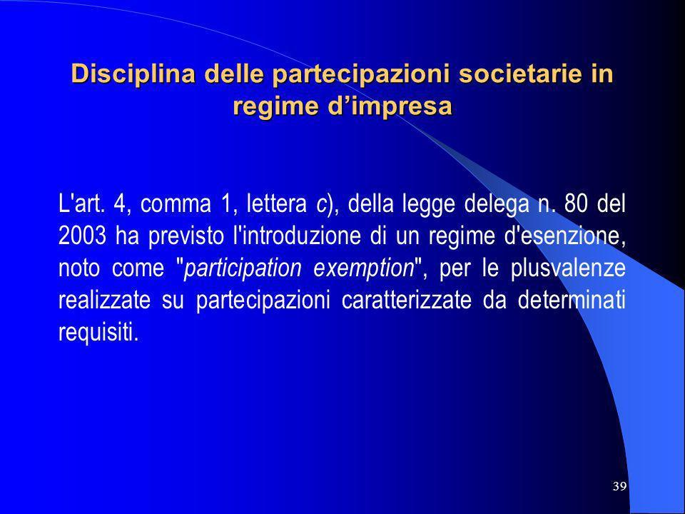 39 Disciplina delle partecipazioni societarie in regime dimpresa L'art. 4, comma 1, lettera c ), della legge delega n. 80 del 2003 ha previsto l'intro