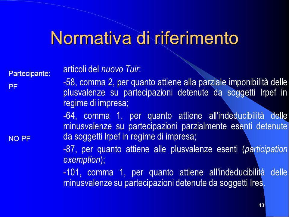 43 Normativa di riferimento articoli del nuovo Tuir : -58, comma 2, per quanto attiene alla parziale imponibilità delle plusvalenze su partecipazioni
