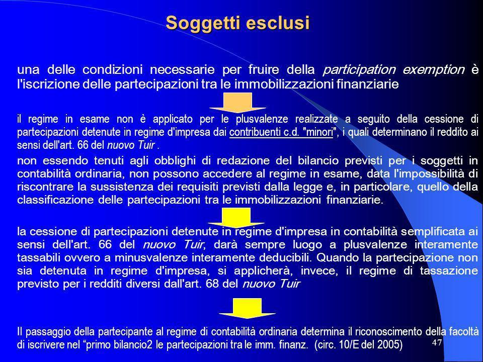 47 Soggetti esclusi una delle condizioni necessarie per fruire della participation exemption è l'iscrizione delle partecipazioni tra le immobilizzazio