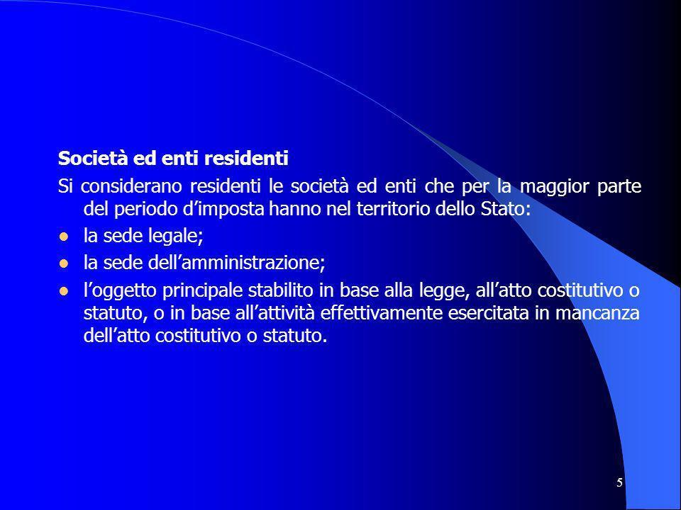5 Società ed enti residenti Si considerano residenti le società ed enti che per la maggior parte del periodo dimposta hanno nel territorio dello Stato
