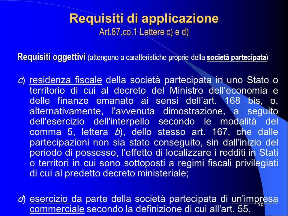 50 Requisiti di applicazione Art.87,co.1 Lettere c) e d) Requisiti oggettivi Requisiti oggettivi (attengono a caratteristiche proprie della società pa