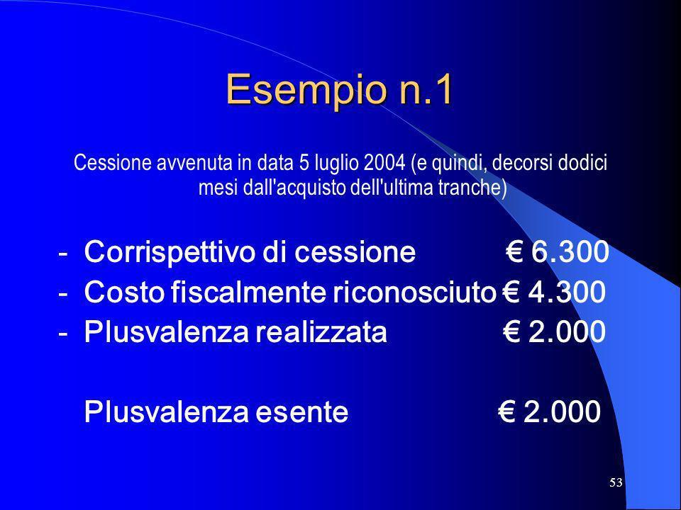 53 Esempio n.1 Cessione avvenuta in data 5 luglio 2004 (e quindi, decorsi dodici mesi dall'acquisto dell'ultima tranche) -Corrispettivo di cessione 6.