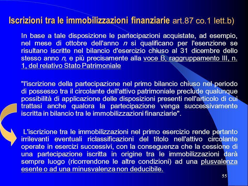 55 Iscrizioni tra le immobilizzazioni finanziarie Iscrizioni tra le immobilizzazioni finanziarie art.87 co.1 lett.b) In base a tale disposizione le pa