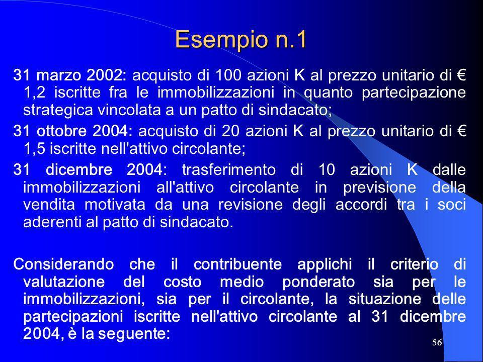 56 Esempio n.1 31 marzo 2002: acquisto di 100 azioni K al prezzo unitario di 1,2 iscritte fra le immobilizzazioni in quanto partecipazione strategica