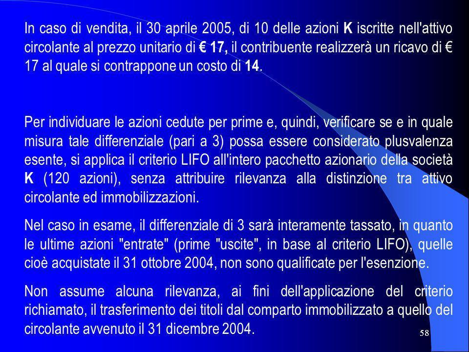 58 In caso di vendita, il 30 aprile 2005, di 10 delle azioni K iscritte nell'attivo circolante al prezzo unitario di 17, il contribuente realizzerà un